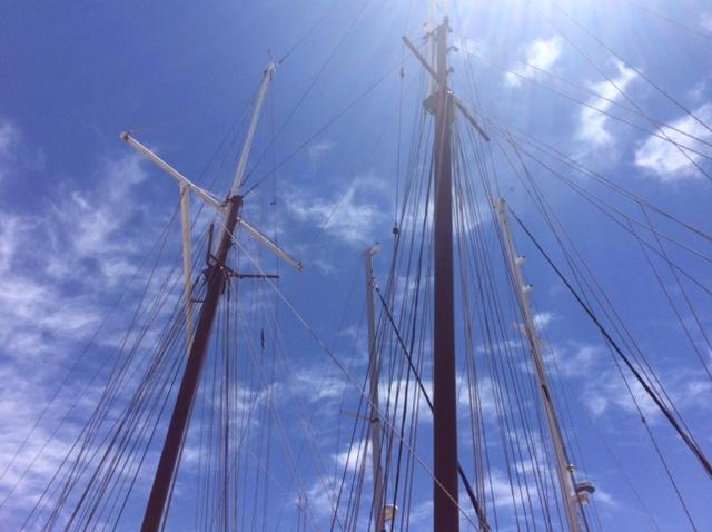Detail of the rigging of the 118-foot gaff rig schooner, Luna Moon