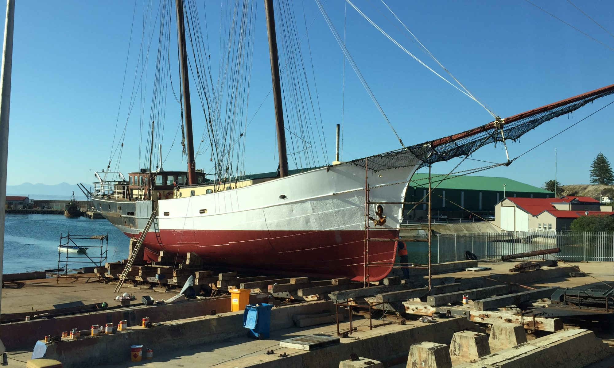 Luna Moon, a 118-foot gaff rigged schooner, on dry dock in Mossel Bay for repairs