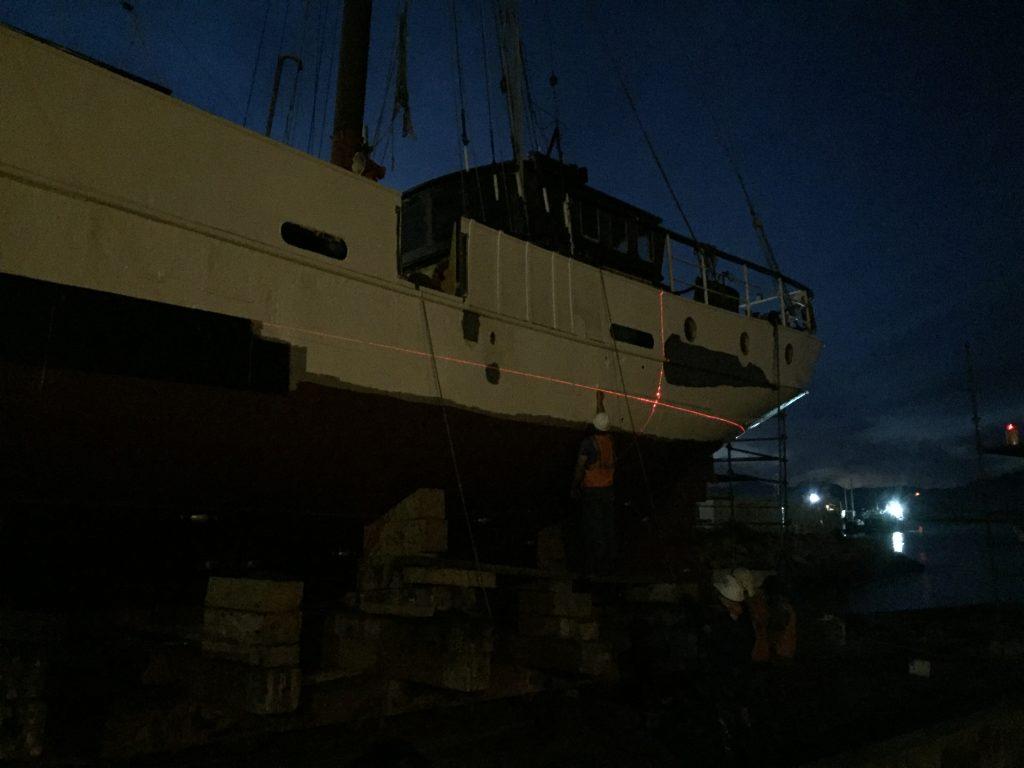 Painting a 118 foot gaff rig schooner